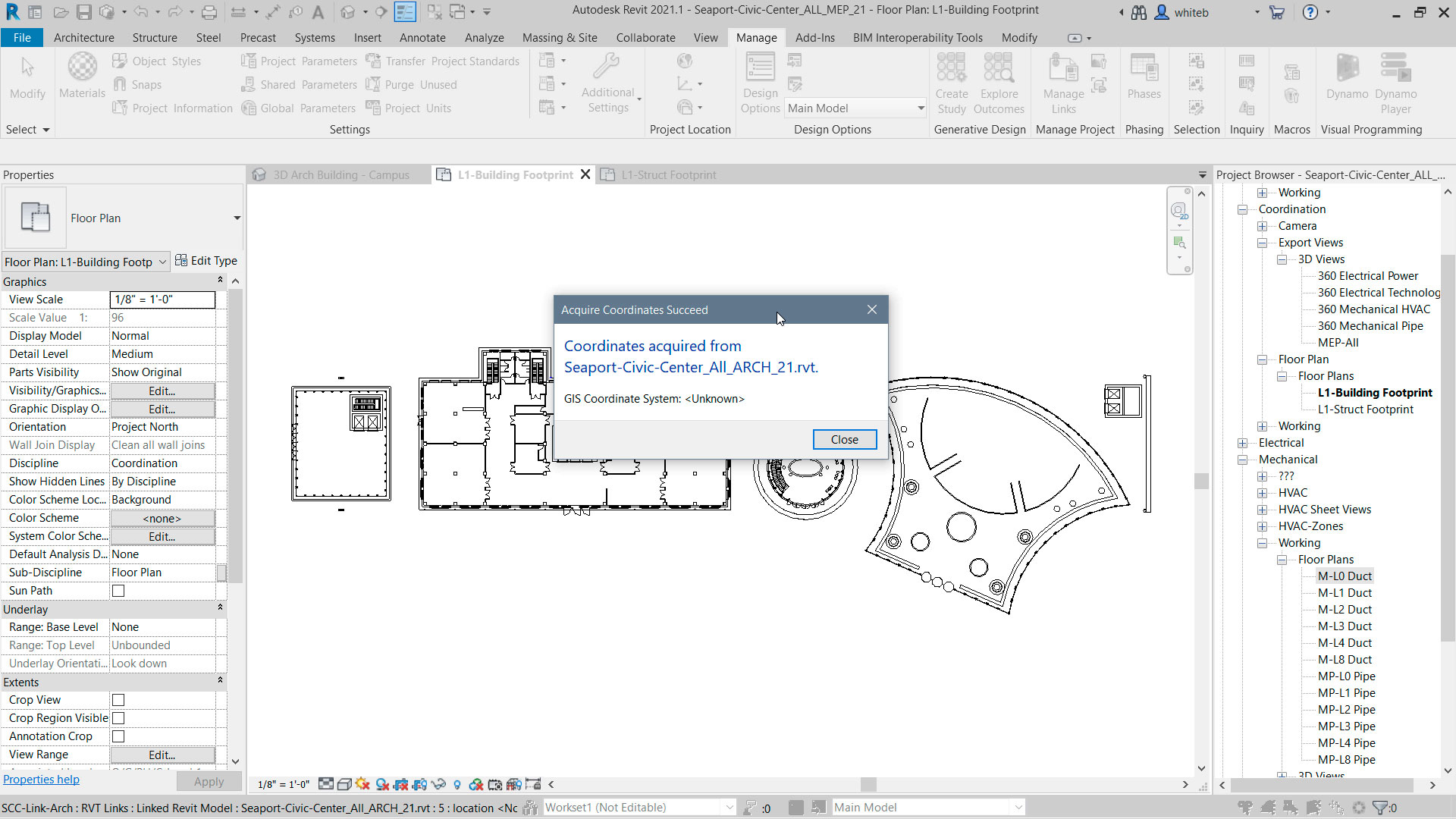 Revit 2021.1 Notificacion adquisicion coordenadas